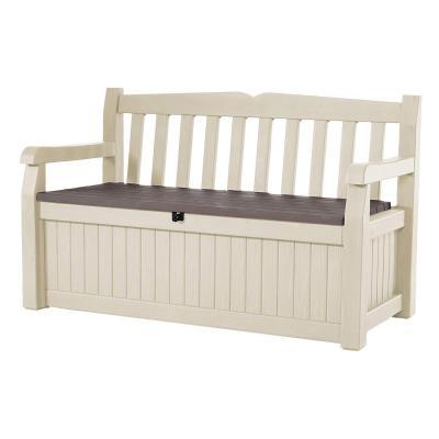 Keter, Banco arcón exterior Eden Garden Bench, Capacidad 265 litros, Color marrón y beige