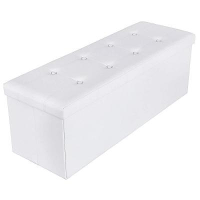 SONGMICS Baúl Puff Taburete para Almacenaje Plegable Carga Máxima de 300 kg 110 x 38 x 38 cm Blanco LSF702