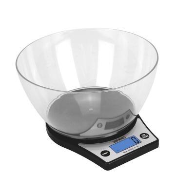 Duronic KS6000 Báscula Cocina Digital 5 Kg de Acero inoxidable Balanza Cocina Peso Pantalla LCD y Tazón Removible Transparente