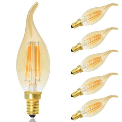 5x Bombillas Led Retro Vintage Vela Filamento E14 Regulable
