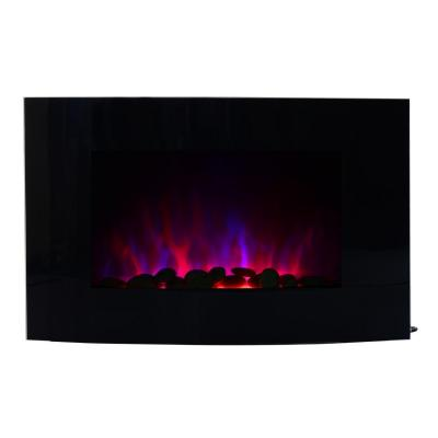 HOMCOM Chimenea Eléctrica Tipo Estufa de Pared con Efecto Llamas Mando a Distancia y Luz LED de 7 Colores 1000W 2000W 88.5x13.5x56cm