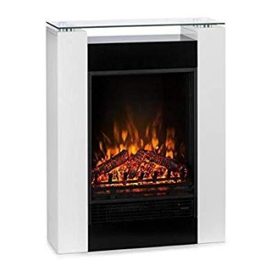 Klarstein Studio 5 Chimenea eléctrica Radiador Calefacción 5 Niveles Brillo 900 ó 1800 W Silenciosa Temperatura Ajustable Mando a Distancia Temporizador semanal Blanco