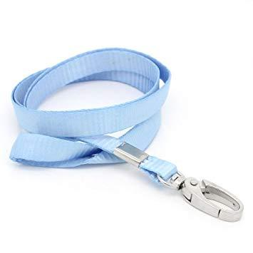 CKB Ltd 10x Premium Light Blue Azul claro Acollador ID Correa Cuello Divisa Dolsa Tarjeta Clave Tenedor Colgante Cuello Cinta Lanyard Neck Strap Swivel Metal Clip For ID Card Holder 46cm