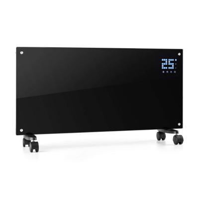 Klarstein Bornholm Radiador eléctrico Calefactor de Vidrio Convector 2000W Panel táctil LED Mando Distancia Modo Eco Control Parental Negro