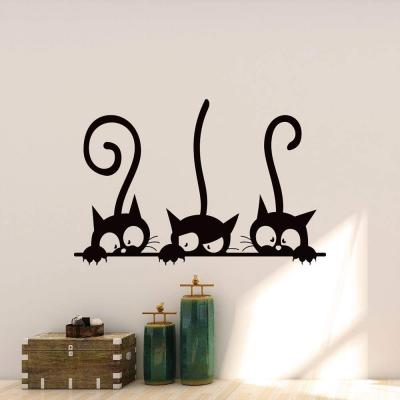 Pegatinas Gato Pared Decorativas Vinilos Gato Decorativos Pared Dormitorio Stickers Decoración Pared Elegante Y Hermoso Tres Gatos