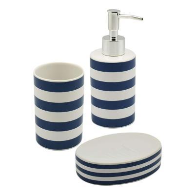 Harbour Housewares Set de rayas blancas y azules Dispensador de jabón