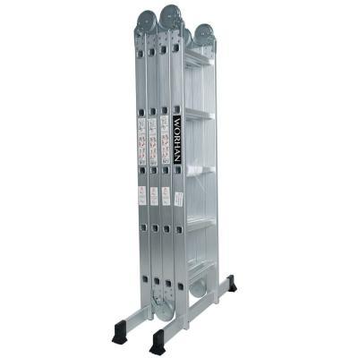 Worhan 5.7m Escalera Multiuso Multifuncional Plegable 570cm Tijera Bisagra Grande Aluminio