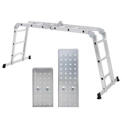 SONGMICS Escalera de aluminio Multifuncional Máx. carga de capacidad de 150 kg Conforme al estándar EN131 TÜV Rheinland GS GLT36M