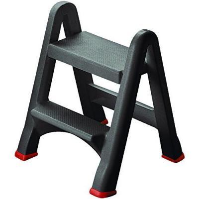 Escalera Plegable Robusto 2 pelda/ños Hasta 150 kg SONGMICS Escalerilla certificado por T/ÜV Rheinland de acuerdo con el est/ándar EN14183 GSL12WT con Apoyabrazos Altura de trabajo 240 cm