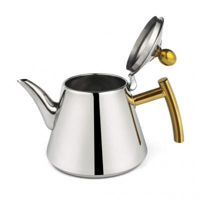 Hervidor JXLBB Fábrica Directa de Alimentos de Grado 304 Acero Inoxidable Caldera Bandeja de té Plana Tetera Juego de té Cocina de inducción Engrosado Olla pequeña 1.2 Hogar