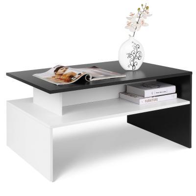 Homfa Mesa de centro para Salón Mesa de café Mezcla de Negro y Blanco 90X54X42CM
