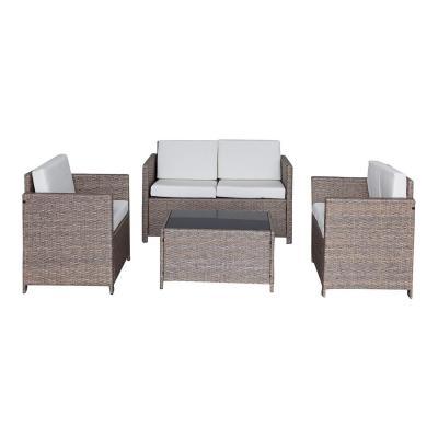 Jet-Line Muebles de Jardín Jardín Conjunto de Muebles de Asiento Cannes II en Natural ratán Lounge Polirratán Equipamiento de jardín terraza balcón sofá sillón Mesa
