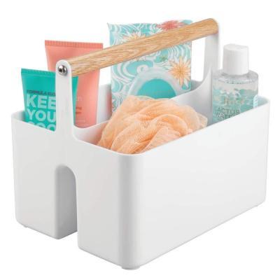 MDesign Cajas organizadoras para baño  Cajas de plástico con Asas de Madera para el Almacenamiento de Productos cosméticos  Organizador de baño con Dos Compartimentos  Blanco Color Roble