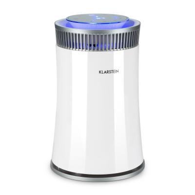 Klarstein Arosa Purificador de Aire Ionizador Lámpara UV Modo automático y Manual Función Dormir Filtro hasta 20 m2 Silencioso 56 dB Bajo Consumo Blanco