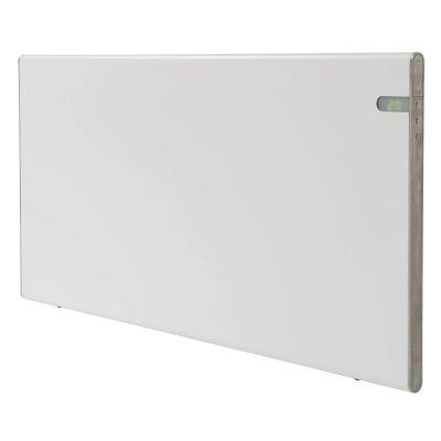 Radiador eléctrico blanco moderno Energía eficiente 800W Clase II Aislamiento reforzado IP24 para baños soporte pared y de suelo intergrado dos en uno pantalla programacion de temperatura dia y noche                                                                                                       Clase de eficiencia energética A++