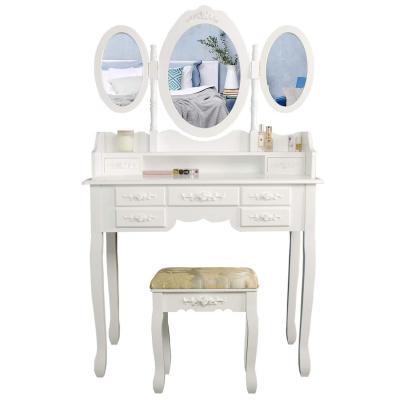 CCLIFE Tocador con cajones y taburete tocador de maquillaje mesa de maquillaje Tocador con taburete y espejo